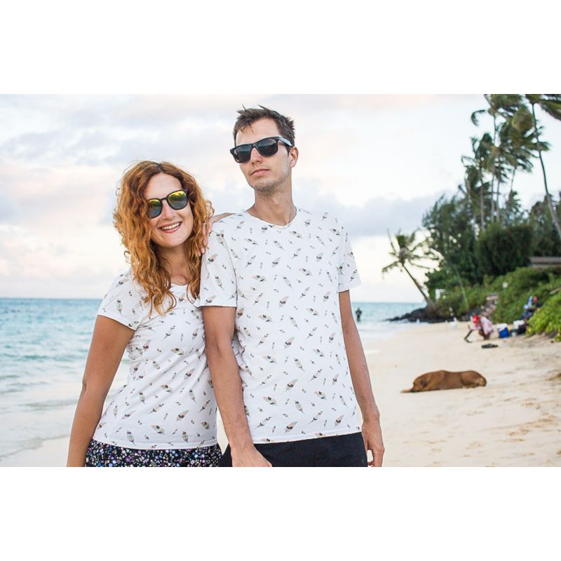 Matching couples shirts with feathers