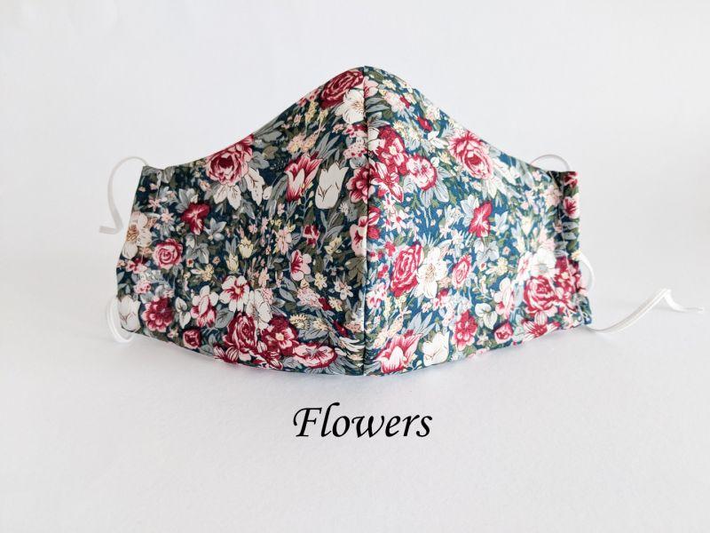flower face mask with filter pocket